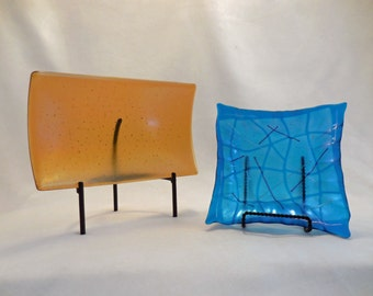 Gold and Turquoise Frosted Fused Glass Dishes