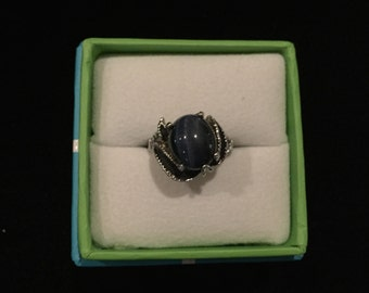 Vintage Silver Ring with Large Blue Stone