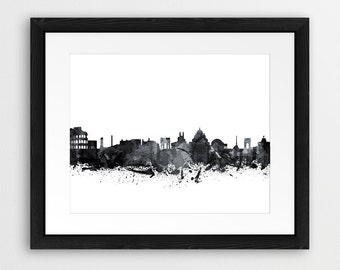 Rome Skyline Print, Rome Italy Cityscape Watercolor Grey Black And White, Modern Wall Art, Home Office Decor, Digital Printable Art
