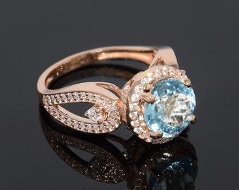 Engagement ring, Topaz ring, Gold engagement ring, Gold topaz ring, Halo ring, Women ring, Gemstone ring, Birthstone ring, Custom stone ring