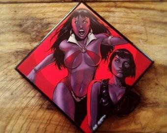 Vampirella, comic, book, ceramic tile, drink, coaster, vampire, Dracula