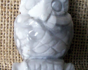 White Howlite Crystal Owl