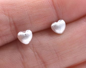 Sterling Silver Very Tiny Little Heart Puff Stud Earrings - Simple and Discreet Y19