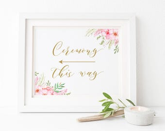 Wedding Ceremony This Way Arrow Sign, Pink and Gold Watercolour Floral Flowers, Instant Download, Peach Perfect Australia