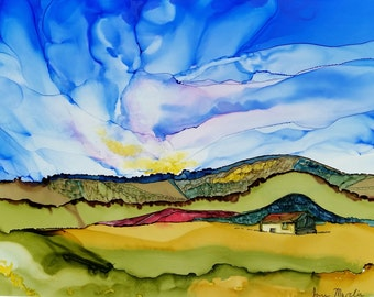 Alcohol inks, original alcohol ink painting, alcohol ink painting,  ink art, landscape painting, country, rural, hills, mountains