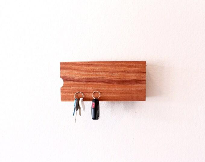 Mahogany Mail Organizer - Magnetic Key Holder - Entryway Organizer - Entryway Key Holder - Fits Magazines