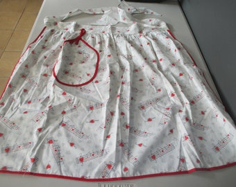 Vintage Cotton Half Apron Musical Notes Hearts Red White & Grey