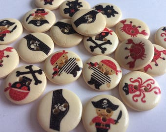18mm pirate themed buttons wooden x 20