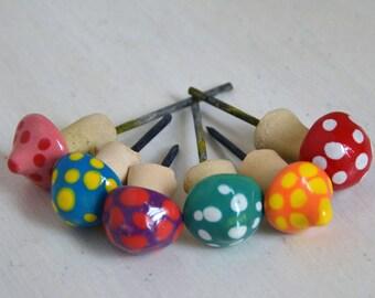 Miniature Mushrooms, Tiny Mushrooms, Fairy Garden Mushrooms, Pico Mushrooms, Fairy Garden Accessory, Colorful Mushroom