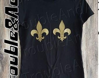 Mardi Gras Gold Fleur De Lis T-shirt Graphic Tee Black and Gold T-shirt for women