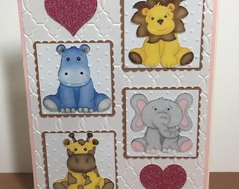 Baby Animal/Safari Baby Shower Card