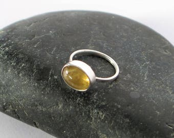 Ring silver Sterling 950 and yellow tourmaline