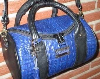 Round Leather Barrel Handbag