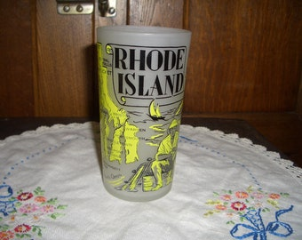Vintage Hazel-Atlas Frosted State of Rhode Island Souvenir Tumbler
