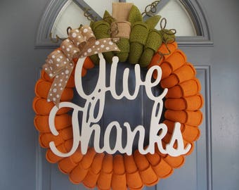 Burlap Wreath, Pumpkin Wreath, Fall Wreath, Thanksgiving Wreath, Give Thanks, Welcome Wreath, Front Door Wreath, Autumn Wreath, Wreath