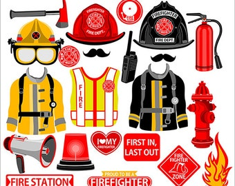 Firefighter digital  photo booth party props instant download