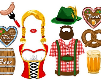 Oktoberfest digital photo booth party props instant download