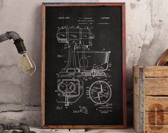 Kitchen Mixer Patent, Food Handling Print, Kitchen Decor, Kitchen Mixer Poster- DA0748