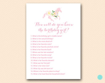 Unicorn Carousel Birthday Games, Who knows the Birthday Girl Best, How well do you know the birthday girl, Instant Download BP497