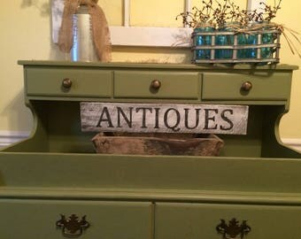 Small Antiques Farmhouse white wash sign