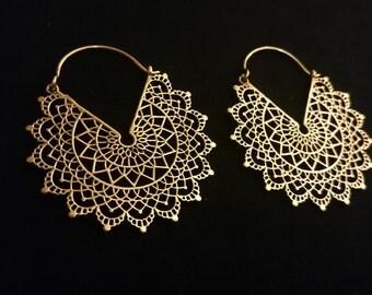 mandala earrings, geometric earrings, mandala hoops, mandala creoles