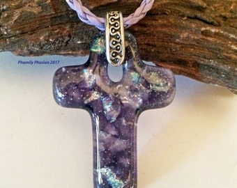 Fused Dichroic Glass Cross Necklace - Sparkling Purple and Rainbow Dichroic Glass/ Dichroic Pendant/ Fused Glass Necklace/ Cast Glass