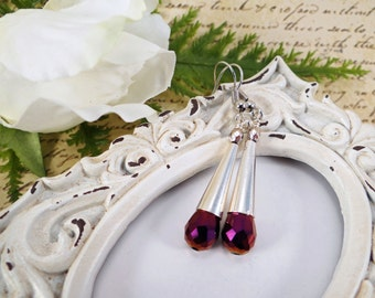 Long purple earrings, Purple teardrop earrings, Silver and purple earrings, Romantic long purple earrings, Purple & silver dangle earrings