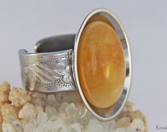 Honey calcite ring,Recycled spoon ring,Yellow calcite ring,Round gemstone ring,Stainless steel ring,Big gemstone ring,Vintage spoon ring