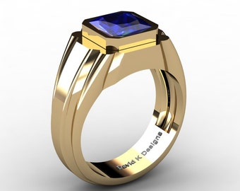 Mens Modern 14K Yellow Gold 2.0 Ct Princess Blue Sapphire Ring R1006-14KYGBS