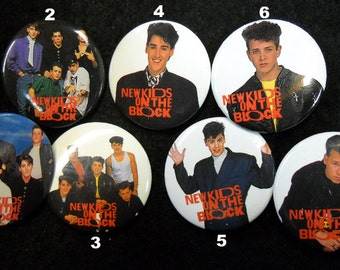 Vintage 'New Kids On The Block' Pinback Buttons - 2 Different Styles!