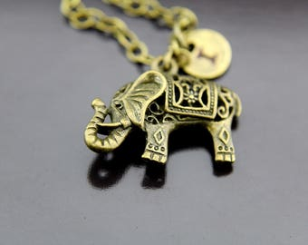 Elephant Necklace, Bronze Elephant Charm Necklace, Elephant Pendants, Elephants, Personalized Necklace, Initial Necklace, Initial Charms