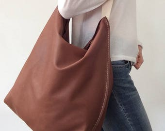 Large leather bag/Shopping bag/ Brown bag /Very soft leather /Shoulder bag /Ready to ship