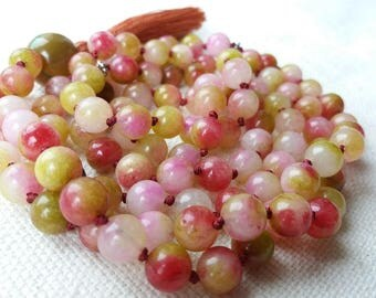 108 Mala Beads, Mala Necklace, Colourful Tassel Necklace, Jade and Agate Mantra Mala, Hand Knotted Meditation Mala, Long Tassel Necklace