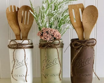 thanksgiving mason jars rustic decor white brown mason jars southern kitchen decor - Southern Kitchen Decor