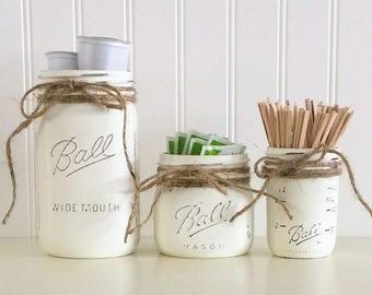 White Canister Set, Coffee Canister Set, Kitchen Decor, Kitchen Storage,  Mason Jar