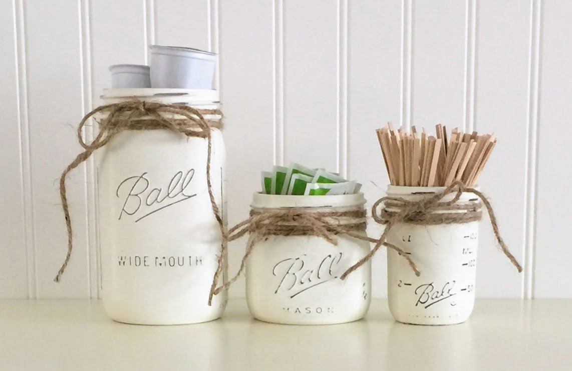 White Kitchen Jars white canister set coffee canister set kitchen decor