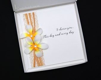 Frangipani, tropical, wedding invitation with mailing box - PERSONALISED SAMPLE