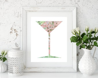 Martini Decor, Gifts for Drinkers, Cocktail Poster, Cocktail Poster Print, Martini Artwork, Martini Art, Martini Printable, Martini Wall Art