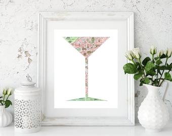 Martini Art, Paris Map Print, Bar Decor, Home Bar Decor, Kitchen Prints, Kitchen Decor, Bar Prints, Kitchen Art, Martini Print