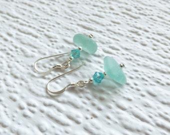 Teal Seaham seaglass and Swarovski crystal sterling silver drop earrings- genuine English sea glass, aqua earrings