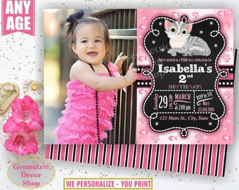 Kitten Birthday Invitation Cat Birthday Invitation Pet Birthday Invite Kitty Birthday Invite Photo Girl Photograph Printable pink black Cat4