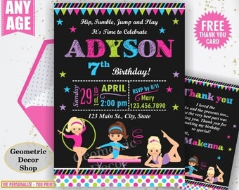 Gymnastic Birthday Invitation Gymnastics Invitation Gymnastic Invitation Printable Girl Invite Pink Aqua Green Purple Chalkboard BDG23