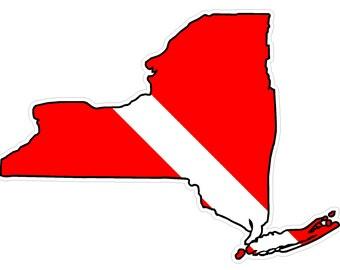 New York State (Y33) Diver Down Flag Vinyl Decal Sticker Car Laptop/Netbook