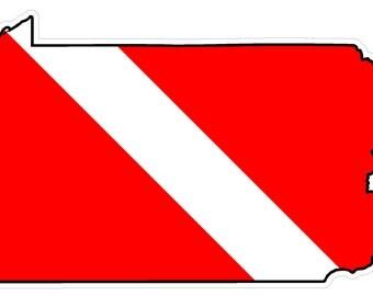 Pennsylvania State (Y39) Diver Down Flag Vinyl Decal Sticker Car Laptop/Netbook