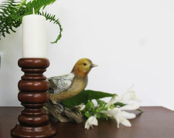 Wood Candle Holder, Wooden Pillar Candleholder, Turned Wood, Rustic Candle Holder, Fall Decor