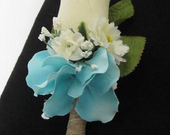 Aqua Cream Rose Silk Flower Wedding Prom Rustic Boutonniere Groom Groomsmen