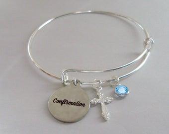 CONFIRMATION BANGLE W/ Silver Cross  Adjustable Bangle W/ Swarovski Birthstone Crystal Drop - Religious Charm -  Gift For Her  FC1