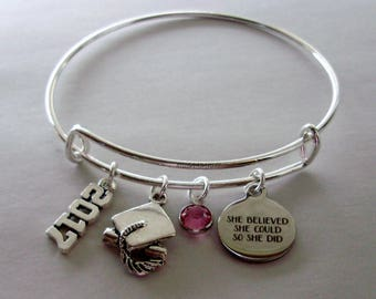 """2017 2018 Charm / Graduation  """"She Believed She Could So She Did""""  Bangle  W/  Birthstone  / High school / College Gifts / Under 20 30 - GD1"""