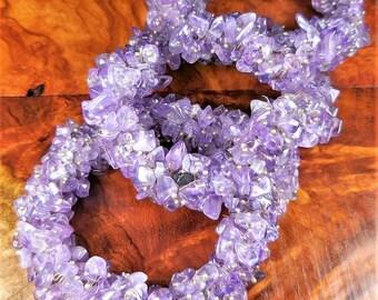 Amethyst Bunch Bracelet - Chip Bead Stretch Bracelets - Purple Tumbled Crystal Beads - Raw Gemstone Jewelry - Elastic Flex - Healing Stones