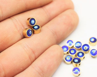 Gold Plated Evileye Beads - 5/6/7 mm Enameled Double Sided Beads - Navy Blue Evileye - Metal Tiny Beads